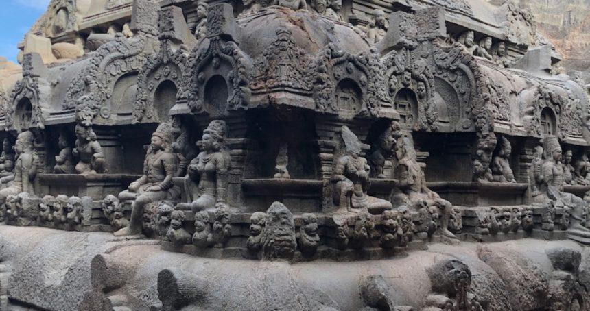 Rock-cut temple and Jain-reliefs at Kazhugumalai, Tamil Nadu